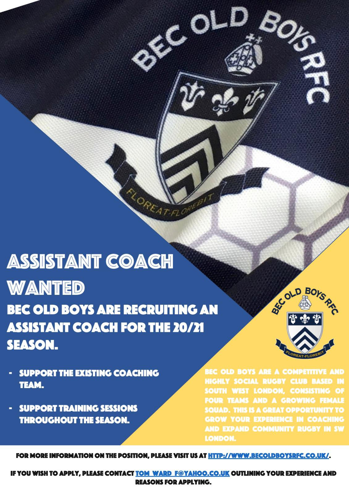 Assistant Coach Wanted (20/21 season)